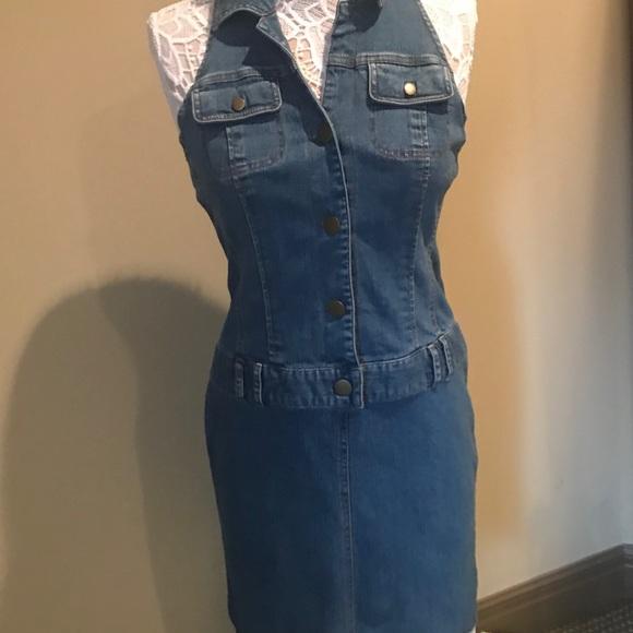 MetroStyle Dresses | Denim Halter Jean